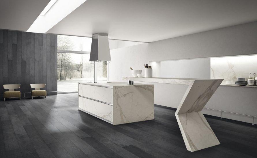 Atypická designová kuchyně z keramické dlažby