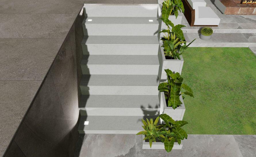 Exteriérové schodiště z keramické dlažby s hranou A1