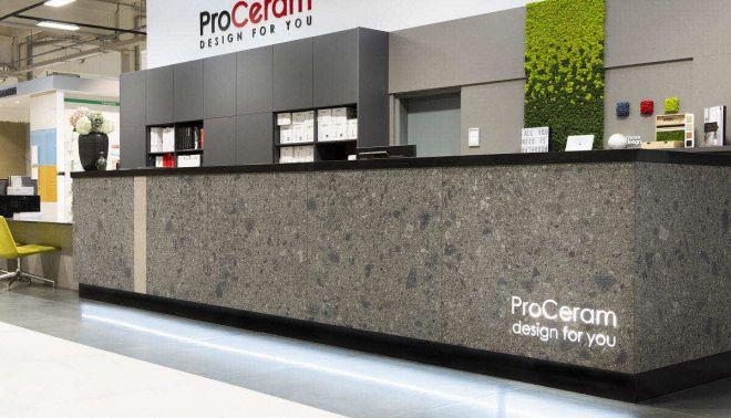 Recepční a prodejní pulty v New Living Center a ProCeram (Praha a Bratislava)