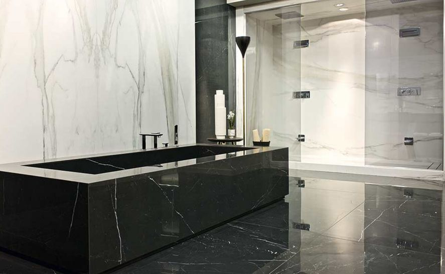 Slinutá keramická dlažba v síle střepu 12 mm - série Black Marble - výrobce Rex
