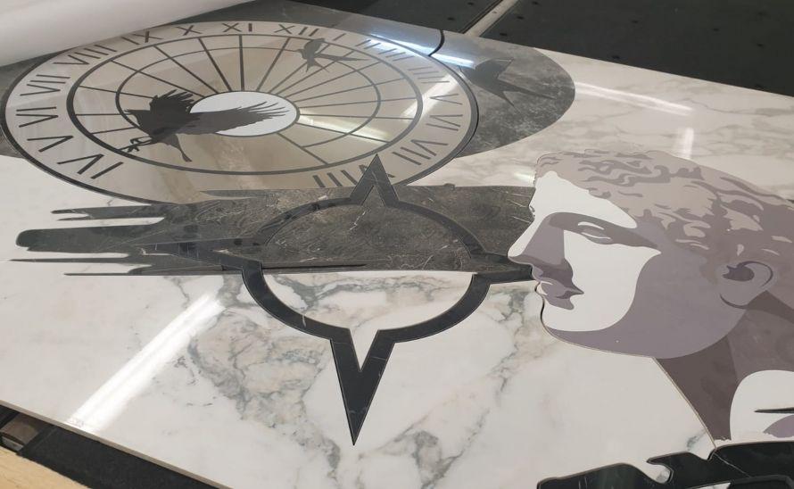 Umělecký obraz z keramické dlažby - kombinace keramických dlažeb a digitálního tisku
